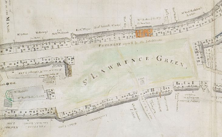 1743 Map of Crediton, Detail