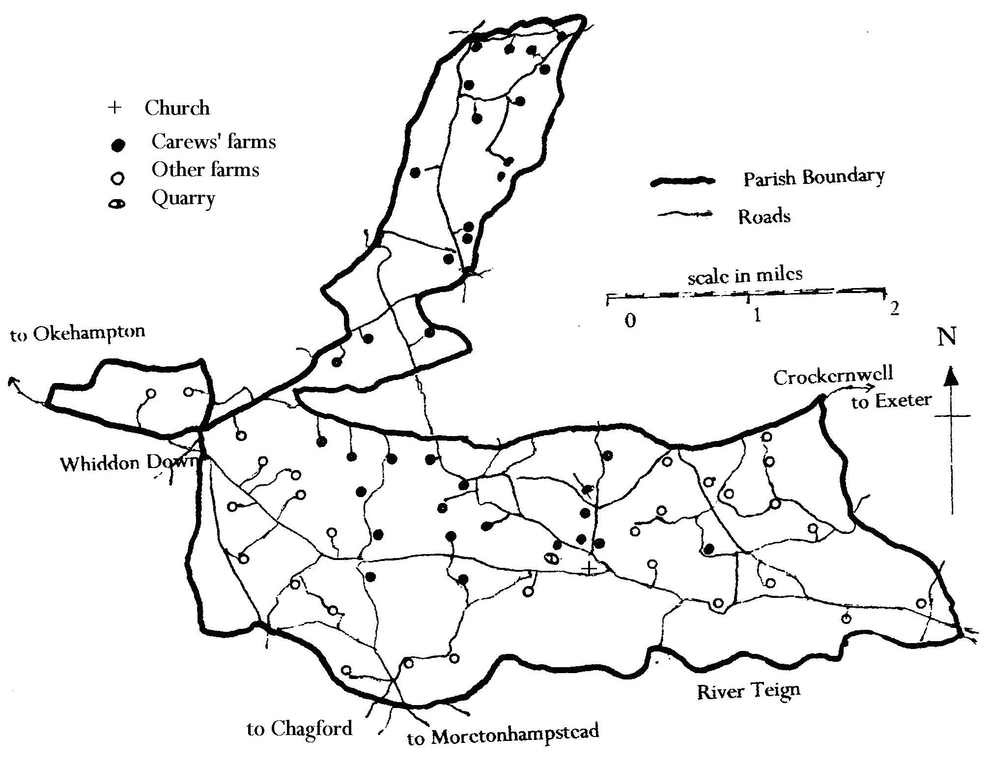 Drewsteignton parish map